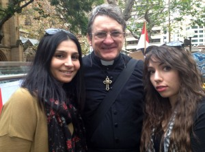 "With Elle (L) and Mimi (R) at the ""Hands Off Syria"" rally (Sydney Town Hall, June 15, 2013)"