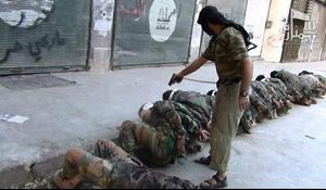 Allies like these ... Al Nusra photo shows its fighters executing prisoners in Aleppo