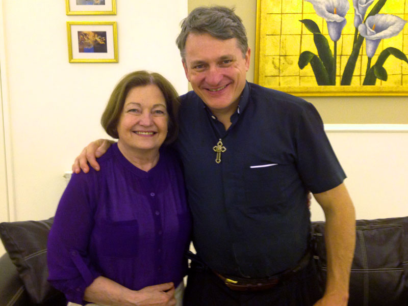 with Mairead Maguire in Beirut,, just before crossing the border into Syria
