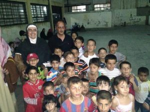 Mother Agnes with orphans in Damascus