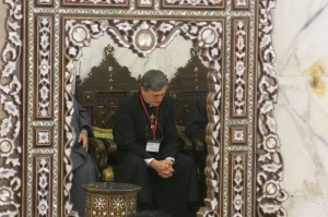 Father Dave at prayer in the Ommayad Mosque in Damascus (mirror image)