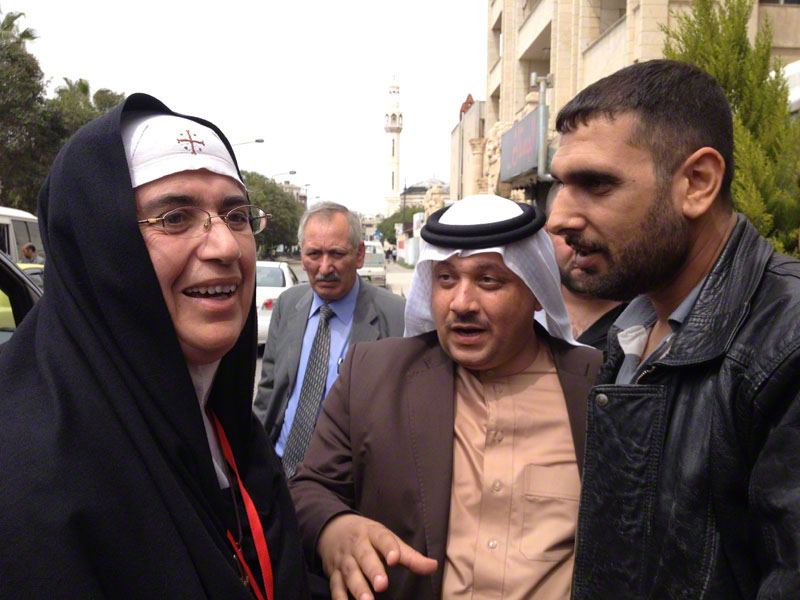 Sheikh Tahhan with Mother Agnes Mariam and a former FSA fighter