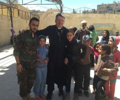 soldiers and kids mix freely